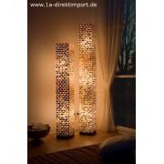 1a Direktimport XL Stehleuchte 'Arielle', Lichtsäule, Capiz Mosaik auf Fiberglas, Ambiente