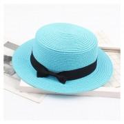 verano de paja de playa británico retro arco plano de protección solar Sombrero LANG(#Azul cielo)