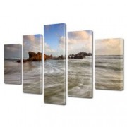 Tablou Canvas Premium Peisaj Multicolor Pe plaja in zori de zi Decoratiuni Moderne pentru Casa 120 x 225 cm