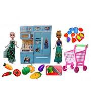 VSHINE Complete household set , Modern Kitchen Set - With Frozen Dolls Elsa & Anna + Fruit Shopping Cart + Slice-able Vegetables Kit