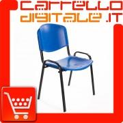 Sedia Impilabile in Plastica BLU - Ufficio Riunione Attesa