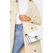 PrettyLittleThing Sac enveloppe en similicuir blanc à bandoulière, Blanc - One Size