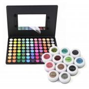 88-Color Shimmer Sombra Palette Plus 12 Polvos Minerales Pigmento Sombras De Ojos