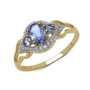 Inel argint placat cu aur cu tanzanit si diamante albe