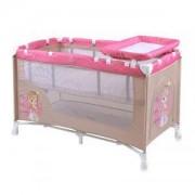 Бебешка кошара за сън и игра LORELLI NANNY 2 нива, Beige & Rose Princess, 10080191703
