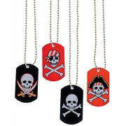 Metal Pirate & Crossbones Dog Tag Necklaces/Goody Bags/Party Favors/Birthday