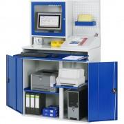 RAU Computer-Arbeitsstation Monitorgehäuse, 2 Ausziehböden Breite 1100 mm, lichtgrau / enzianblau