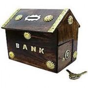 Hut Shape wooden piggy bank