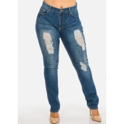 CheapChic NINE PLANET Plus Size Ripped Distressed High Waisted Light Blue Straight Leg Denim Jeans Multicolor
