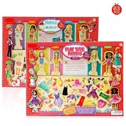Akrobo 63 Outfits Magnetic Dress up Costumes Wooden Puzzle for girls