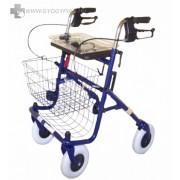 Összecsukható 4 kerekű fékes rollátor állítható anatómiai fogantyúval, fémkosárral