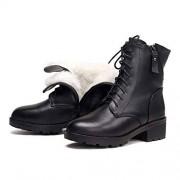 dream-higher Botas de Tobillo para Mujer de Piel auténtica con tacón de Lana cálido, Talla 41, 42, 43, Botas Militares de Invierno para Mujer, Piel de Vacuno Wool1, 6 US