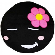 Soft Smiley Emoticon Black Round Cushion Pillow Stuffed Plush Toy Doll (Shy Girl)