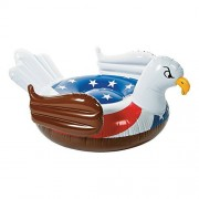 Giant Rideable Patriotic American Flag Bald Eagle Inflatable Swimming Pool Water Float Fourth Of July Adult Blow Up Sit And Lounge Raft USA Beach Tube