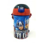 HMI Original Licensed Disney, Marvel & Nickelodeon Character Polypropylene Pop Up Canteen Sipper Bottle / Water Bottle, BPA free, 450 ml (Avengers)