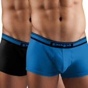 [2 Pack] Papi Cotton Stretch Solid / Solid Brazilian Trunks Boxer Brief Underwear Black+Blue 980558R-968