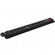 GAO 10-es hosszabbító kapcsolóval ,gyermek- és túlfesz. védelemmel,2m vezeték, fekete, szerelhető