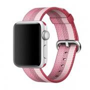 Voor Apple Watch 42mm streep geweven Nylon horlogeband (Berry kleur)