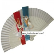 Decorated Wedding Fans - Assorted Bright Colours (Plain Rustic)