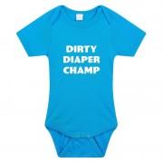 Bellatio Decorations Dirty Diaper Champ tekst rompertje blauw baby