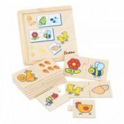 Joc de asociere din lemn de tip puzzle Onshine- Animalele si hrana lor