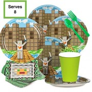 Pixel Party Favors Minecraft Inspired Birthday Supplies Set - Kit Serves 8 Plates, Cups, Napkins, Silverware Deluxe Favor Pack Great For Kids Parties Boy Or Girl