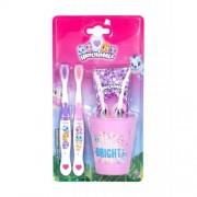 Hatchimals Hatchimals подаръчен комплект четки за зъби 2 бр + паста за зъби 75 ml + чаша поставка за четки за зъби