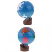 Segolike Montessori Wooden Educational Toys Globe of World Parts with Land&Water Globe Set for Kids Gift