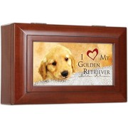 I Love My Golden Retriever Dog Pet Decorative Jewelry Music Musical Box - Plays Song Wonderful World