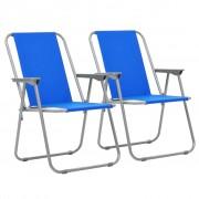 vidaXL Сгъваеми къмпинг столове, 2 бр, 52x59x80 см, сини