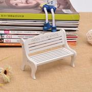Ocamo Mini Park Benches Chair Miniature Garden Crafts Bonsai Terrarium Doll Landscape Ornament Home Decoration White Small Hollow