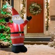 HomCom® Pai Natal Inflável 1.2m Decoração Natal Iluminação LED Ideal Interior Exterior