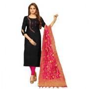 Polly Trends Women's Churidar Material| Salwar Suit | Salwar Kameez Unstitched Cotton Dress Material with Banarasi Dupatta ( 2003 BLACK & PINK )