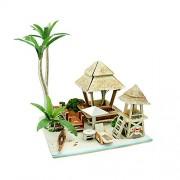 Emousport 3D Wood Puzzle DIY Model Kids Toy Bali House Puzzle,Puzzle Building,Wooden Puzzles Hand Worker