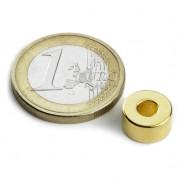 Magnet neodim inel, diametru 10/04 mm, putere 2,2 kg, placat aur