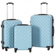 vidaXL Комплект твърди куфари с колелца, 3 бр, сини, ABS