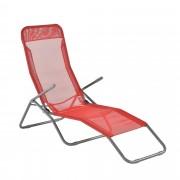 [casa.pro]® Napozóágy napágy 190 x 60 x 98 cm állítható háttámla nyugágy napfellenzővel összehajtható Piros