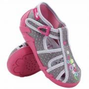 Sandale fetite, din material textil, gri, cu catarama