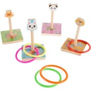 SHRIBOSSJI 5pcs Wooden Animal Throwing Ring Intellectual Funny Circle Game Educational Toys Gift for Kids(random style)