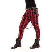 Spodnie w kratę, z szelkami i skórzanymi wstawkami - CHEMICAL PANTS