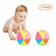 ZAH 2Pcs Baby Rattle Balls Toy Mini Colorful Plush Ball for Newborn Infant Toddler Cute Small Rainbow with Bells