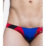 Mategear So Nam IV Flat Front Half Back Mini Bikini Swimwear Blue/Red/Black 1370701