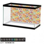ScottDecor Colorido, calcomanía de fondo para acuario, diseño de círculo geométrico, para acuarios, color6, W24xH16.14