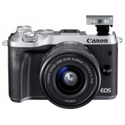Canon Systemkamera Canon EOS M6 inkl. EF-M 15-45 mm IS STM 24.2 Megapixel Silver WiFi, Bluetooth, Full HD Video