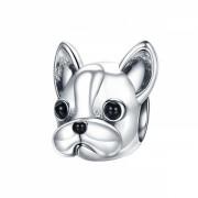 Talisman Charm argint 925 KRASSUS French Bulldog, pentru bratara sau pandantiv lant, model catel