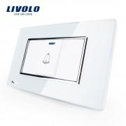 Buton sonerie Livolo din sticla - standard italian, alb