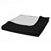 vidaXL Cuvertură de pat matlasată cu două fețe negru/alb 220 x 240 cm