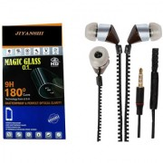 COMBO of Tempered Glass & Chain Handsfree (Black) for Sony Xperia Z by JIYANSHI