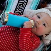 Pura Stainless Steel 11oz/325 ml Infant Nipple Bottles Combo Pack Aqua Green Sleeves By Montyybucks.Inc