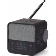 Radio 4 in 1 Lexon Oslo News Lite cu ceas alarma functie de incarcator wireless si boxa bluetooth incarcare USB-C design compact gri